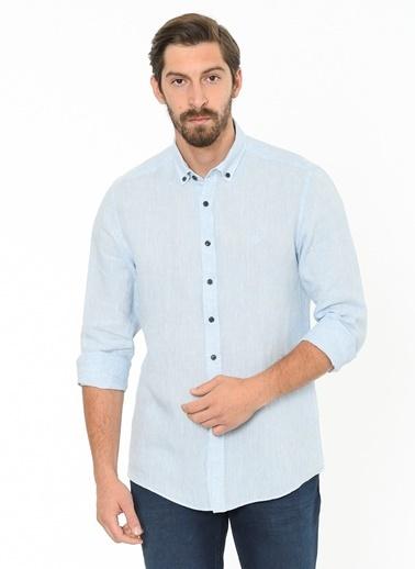 Beymen Business Uzun Kollu Keten Gömlek Mavi